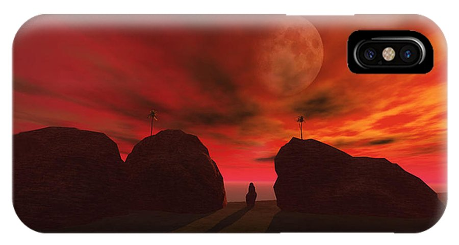Landscape IPhone X Case featuring the digital art Red Dawn by Julie Grace