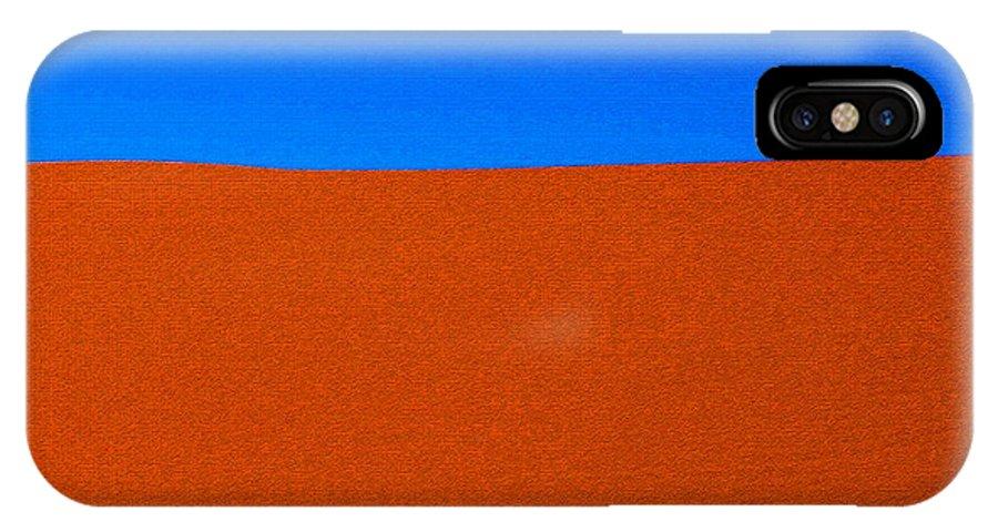 Red Desert Blue Sky IPhone X Case featuring the painting Red Desert Blue Sky by David Lee Thompson