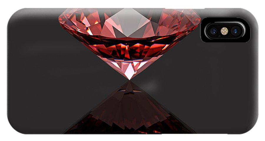 Crystal IPhone X Case featuring the digital art Red Diamond Ruby by Borislav Marinic