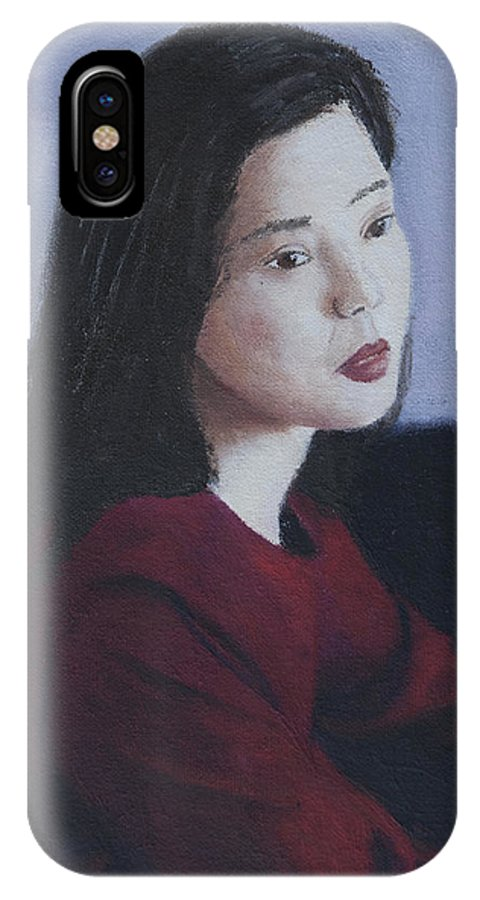 Portrait IPhone X Case featuring the painting Red Dress by Masami Iida