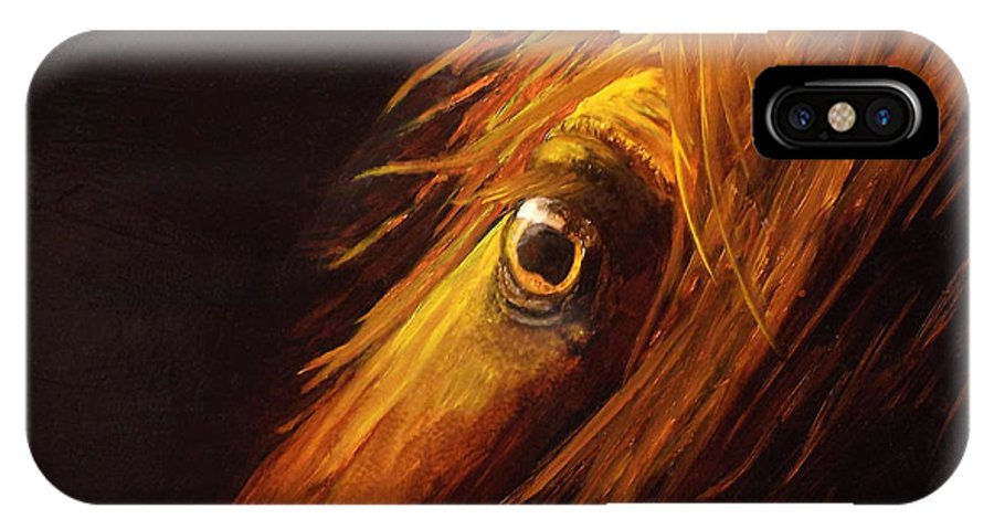 Horse Spirit IPhone X Case featuring the painting Red Eye Special by Joyce Blank