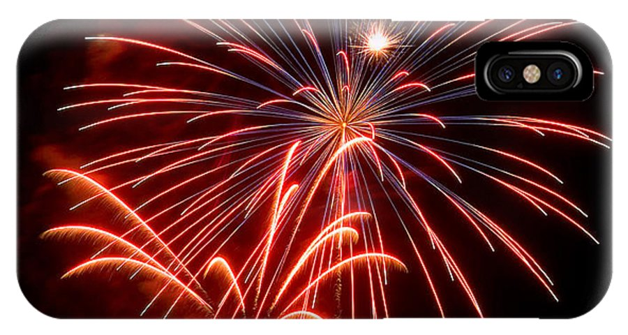 Fireworks IPhone X Case featuring the photograph Red Fireworks by Devinder Sangha
