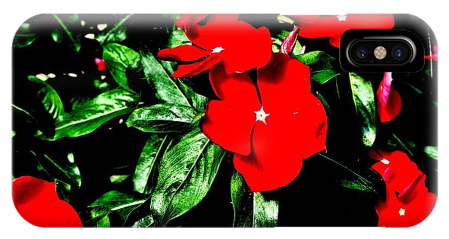 Photo IPhone X Case featuring the photograph Red Flowers Among Green Leaves by Marsha Heiken