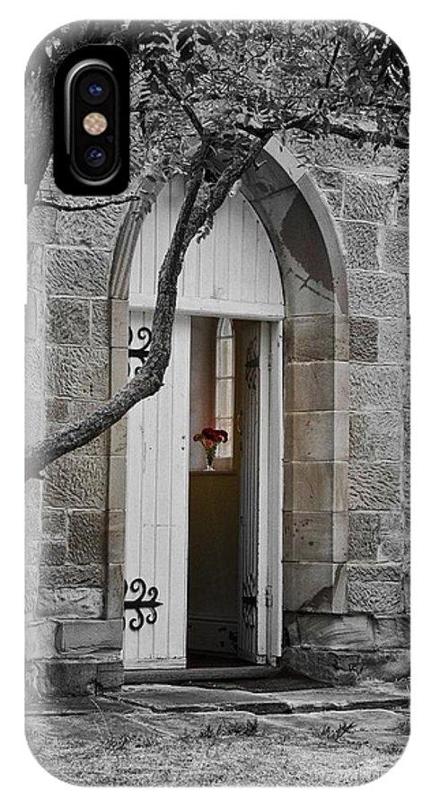 Church IPhone X / XS Case featuring the photograph Red Flowers In The Window by Janet Waltz
