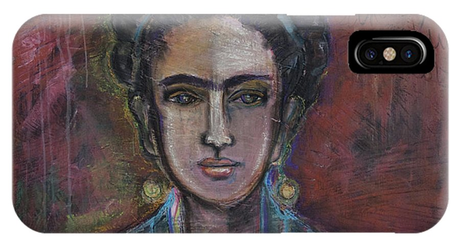 Frida Kahlo IPhone X Case featuring the painting Red Frida 2013 by Laurie Maves ART