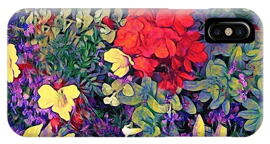 Sharkcrossing IPhone X Case featuring the digital art Red Geranium With Yellow And Purple Flowers - Horizontal by Lyn Voytershark