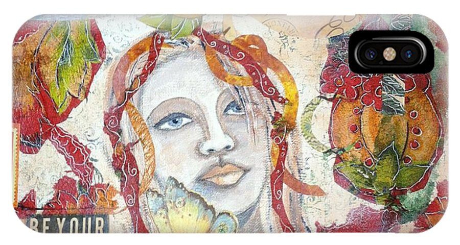 Girl IPhone X Case featuring the mixed media Red Girl 27 by Kristina Thompson