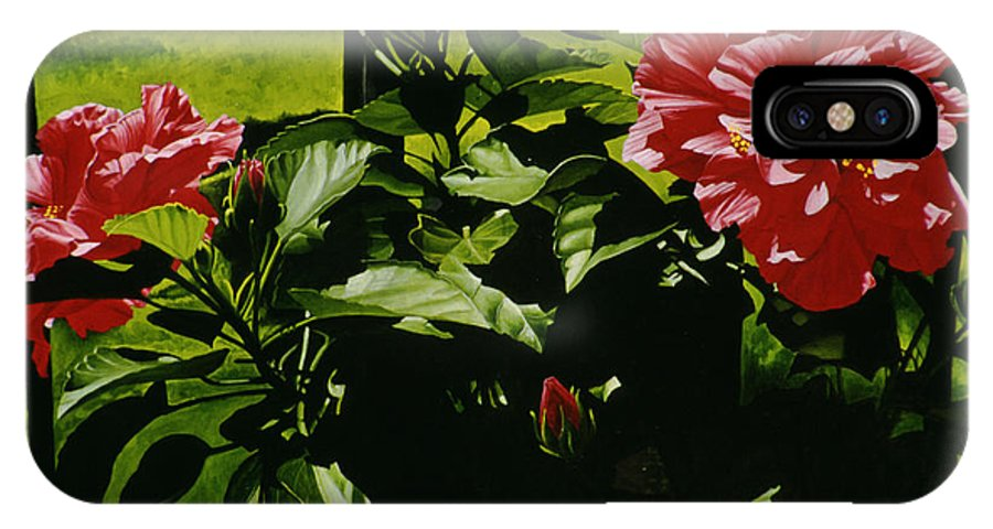 Floral IPhone X Case featuring the painting Red Hibiscus by Gary Hernandez