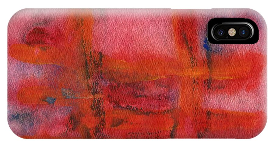 Abstract IPhone X Case featuring the painting Red Hot Watercolor by Thomas Chasm
