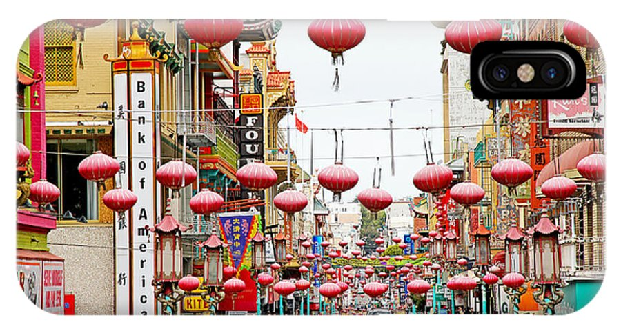 Red IPhone X Case featuring the photograph Red Lanterns Of Chinatown by Evan Peller