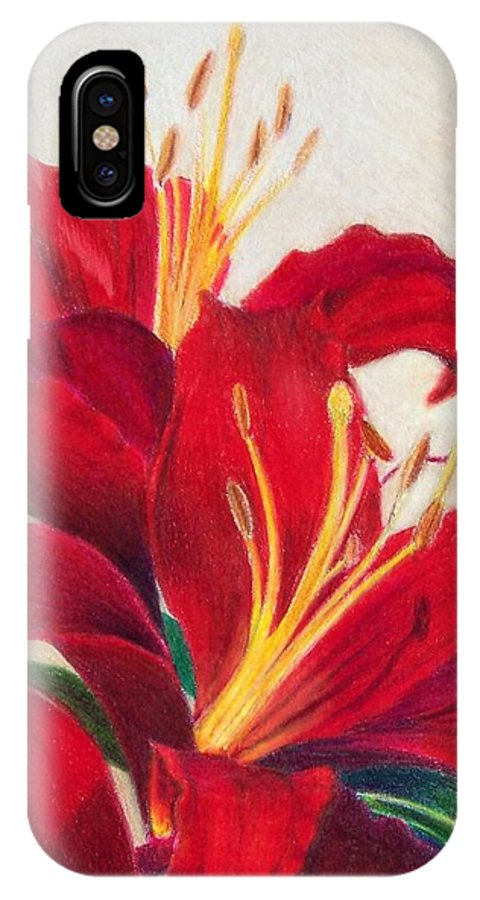 Red IPhone X Case featuring the painting Red Lilies by Janice Adams