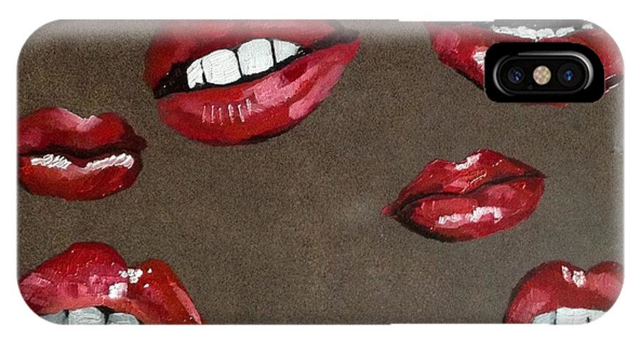 Lips IPhone X Case featuring the painting Red Lips by Shelby Rawlusyk