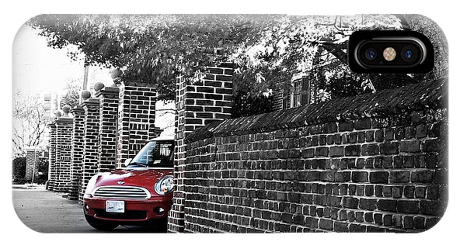Automobile IPhone X Case featuring the photograph Red Mini Cooper- The Debut by Nancy Dole McGuigan