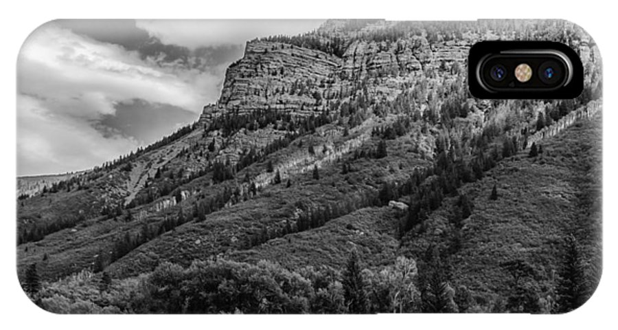 Black IPhone X Case featuring the photograph Red Mountain Cliffs In Black And White by Karen Stephenson