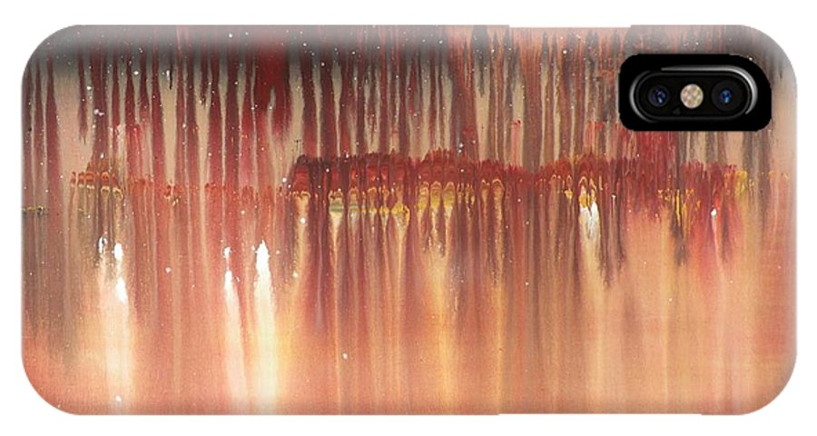 Red Night IPhone X / XS Case featuring the painting Red Night by Michael Stanley