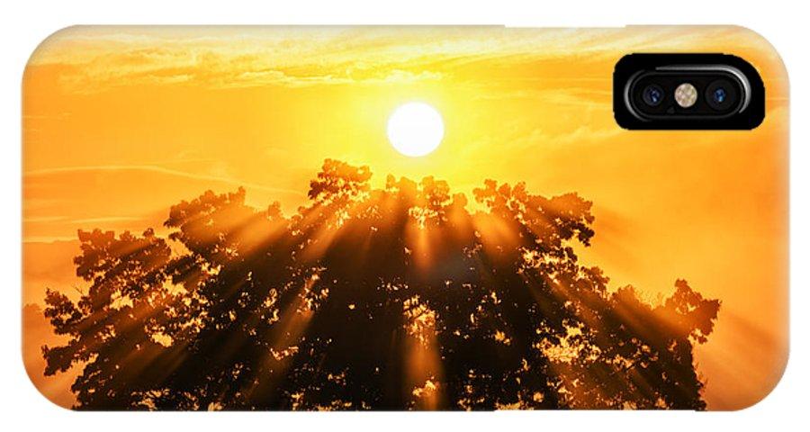 Sunrise IPhone X Case featuring the photograph Red Oak Sunrise Fog by Thomas R Fletcher