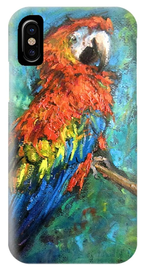 Red Parrot IPhone X Case featuring the painting Red Parot by Jieming Wang