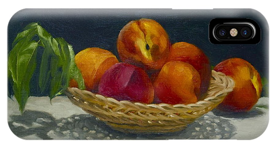 Dark Background IPhone X Case featuring the painting Red Peaches by Roger Clark
