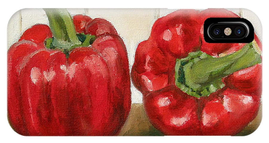 Food IPhone X Case featuring the painting Red Pepper by Sarah Lynch