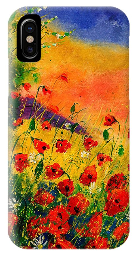 Poppies iPhone X Case featuring the painting Red Poppies 45 by Pol Ledent