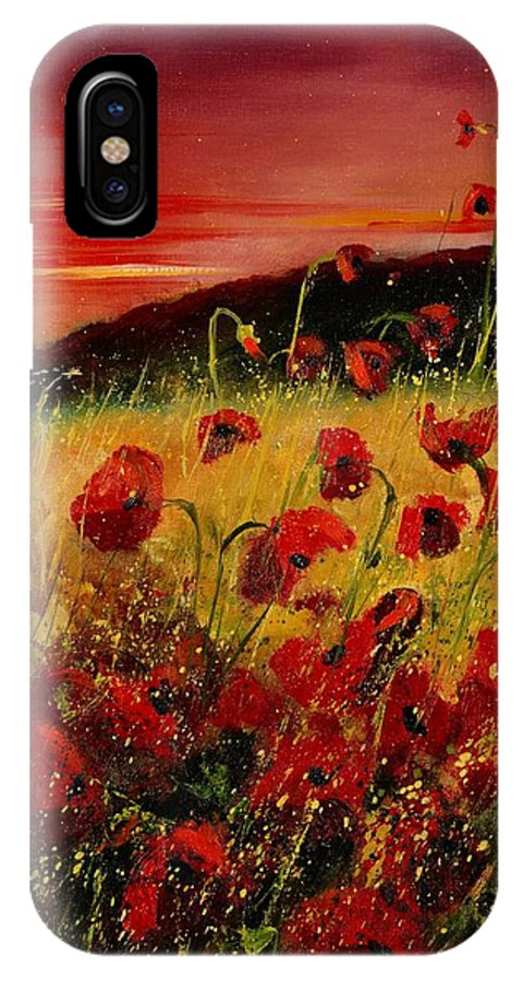 Poppies IPhone X Case featuring the painting Red Poppies And Sunset by Pol Ledent