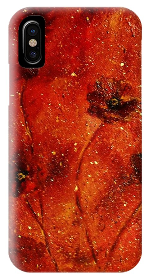 Red Poppies IPhone X Case featuring the painting Red Poppies by Robin Monroe