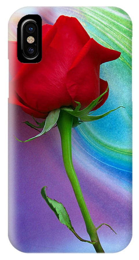 Red Rose IPhone X Case featuring the photograph Red Rose Delight by Scott Witte