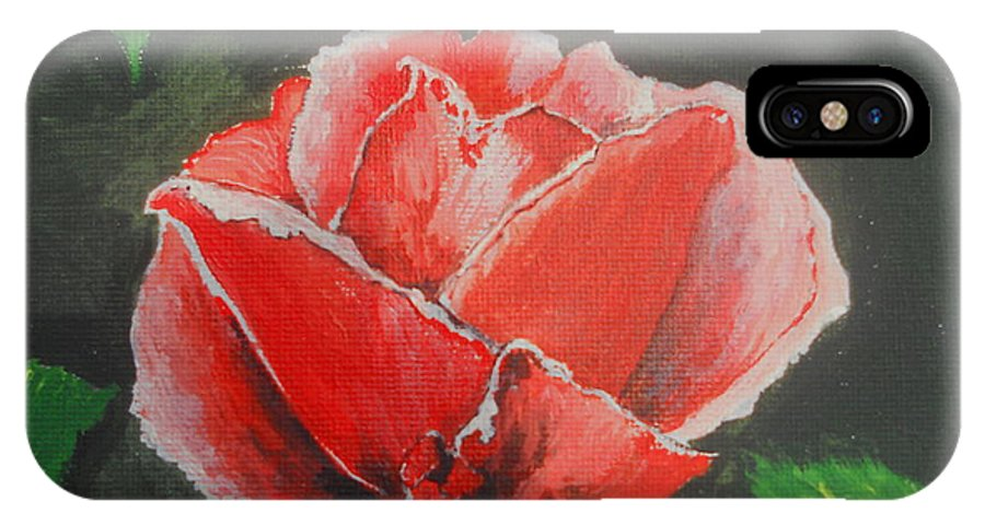 Acrylic IPhone X Case featuring the painting Red Rose Study by Kathy Spall