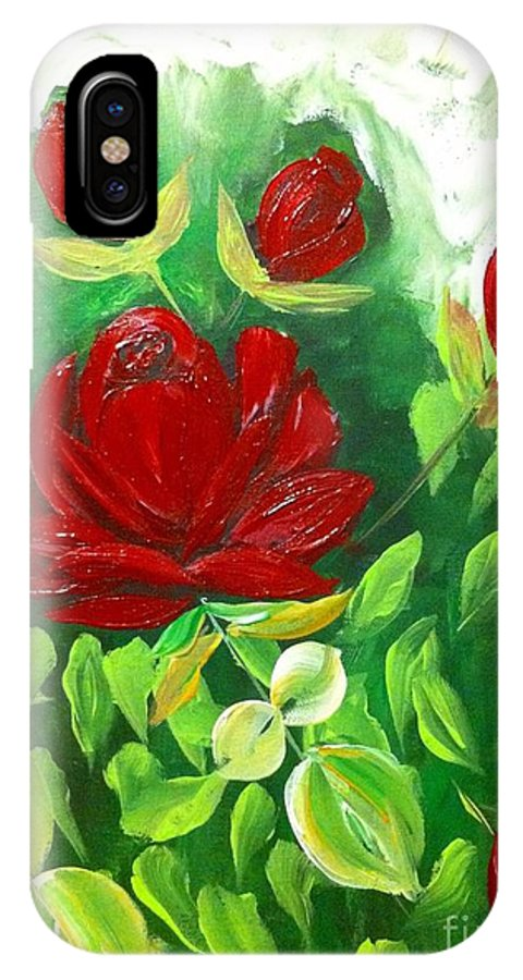 Read IPhone X Case featuring the painting Red Roses From The Garden by Saundra Myles