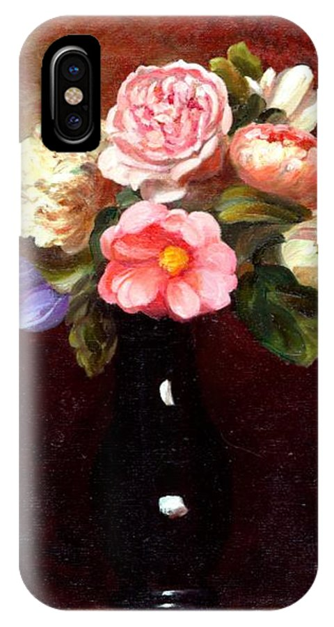 Still Life IPhone X Case featuring the painting Red Roses In A Black Vase by Edward Skallberg