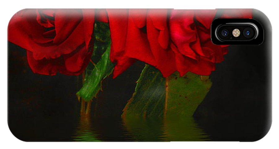 Red IPhone X Case featuring the photograph Red Roses Reflected by Joyce Dickens