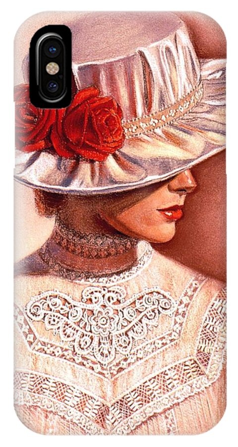Victorian Lady IPhone X Case featuring the painting Red Roses Satin Hat by Sue Halstenberg