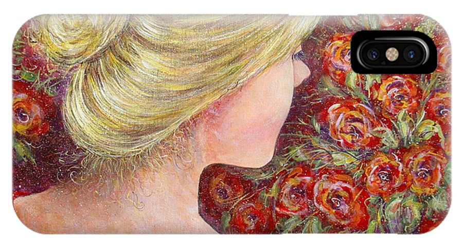 Female IPhone X / XS Case featuring the painting Red Scented Roses by Natalie Holland