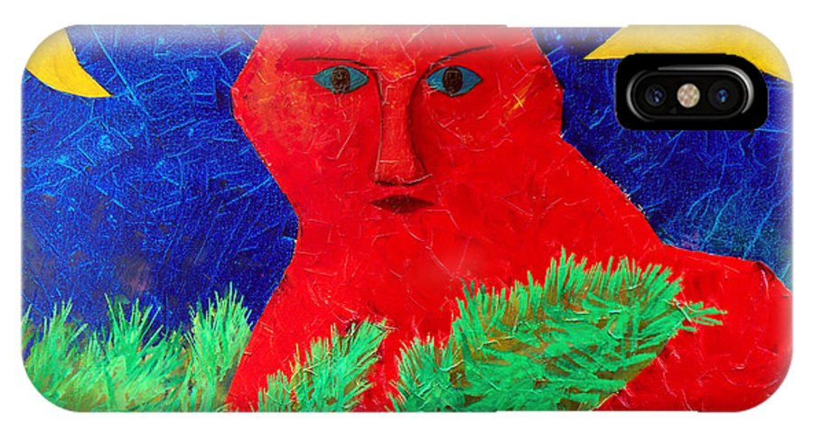 Fantasy IPhone X Case featuring the painting Red by Sergey Bezhinets