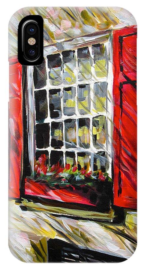 Window Art IPhone X Case featuring the painting Red Shutters by Alan Metzger