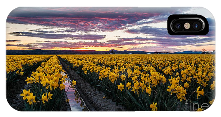 Skagit IPhone X Case featuring the photograph Red Skies In The Valley by Mike Reid
