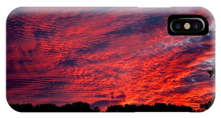Clouds IPhone X Case featuring the photograph Red Sky At Night by Greg Fortier
