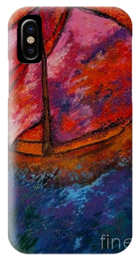 Sail Boat IPhone X Case featuring the pastel Red Sky At Night Sailors Delight by Jon Kittleson