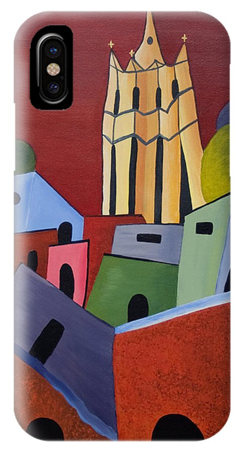San Miguel De Allende IPhone X Case featuring the painting Red Sky In San Miguelle De Allende by Barbara McMahon