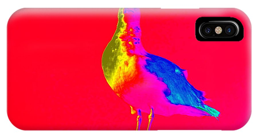 Pop Art IPhone X Case featuring the photograph Red Sky Seagull by Ed Weidman
