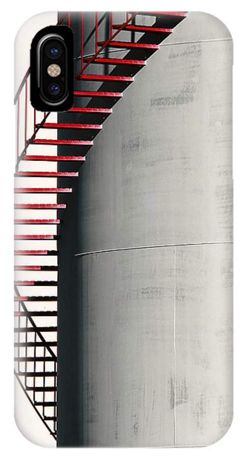 Metal IPhone X Case featuring the photograph Red Steps On Tank by Robert Woodward