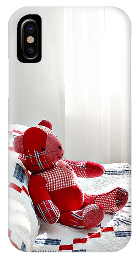 Cottage Style IPhone X Case featuring the photograph Red Teddy Bear by Art Block Collections