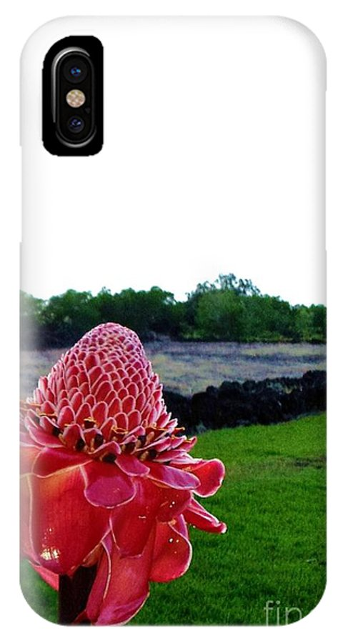 Red Torch Ginger IPhone X Case featuring the photograph Red Torch Ginger at Pu'u o Mahuka Heiau by Chandelle Hazen