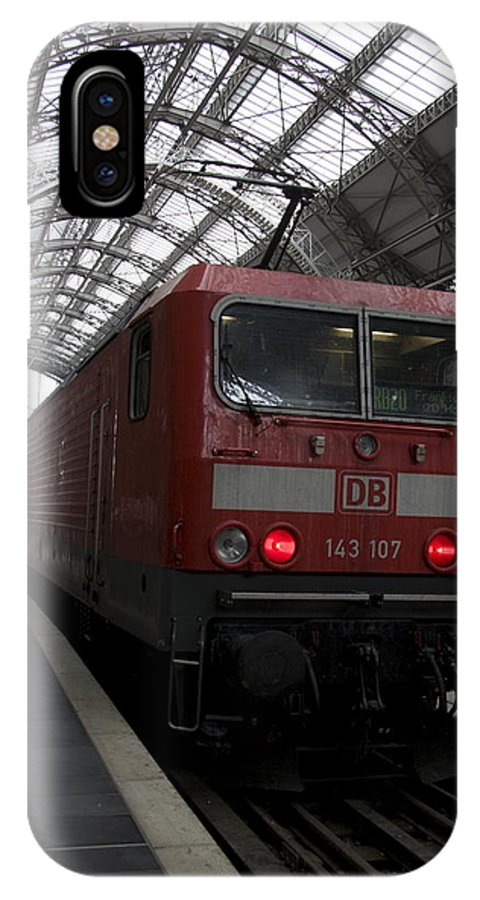 143 IPhone X Case featuring the photograph Red Train To The Main Train Station In Frankfurt Am Main Germany by Ronald Jansen