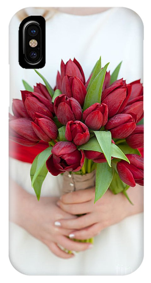 Bouquet IPhone X Case featuring the photograph Red Tulip Wedding Bouquet by Lee Avison