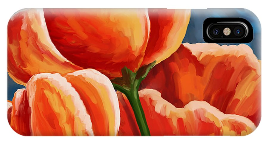 Tulips IPhone X Case featuring the painting Red Tulips On Blue by Tim Gilliland