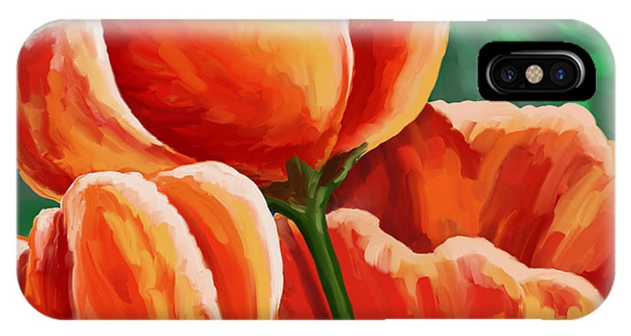 Tulips IPhone X Case featuring the painting Red Tulips On Green by Tim Gilliland