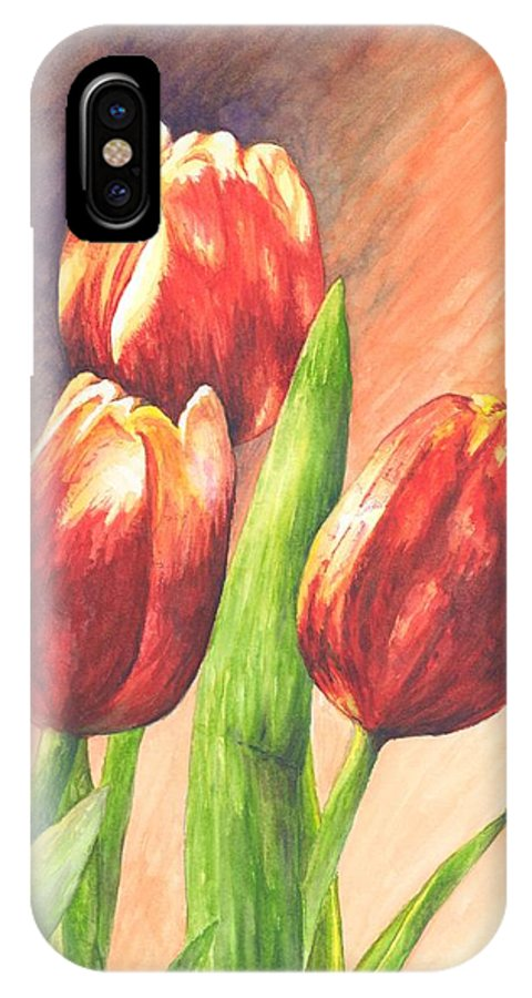 Red IPhone X Case featuring the painting Red Tulips by Oty Kocsis