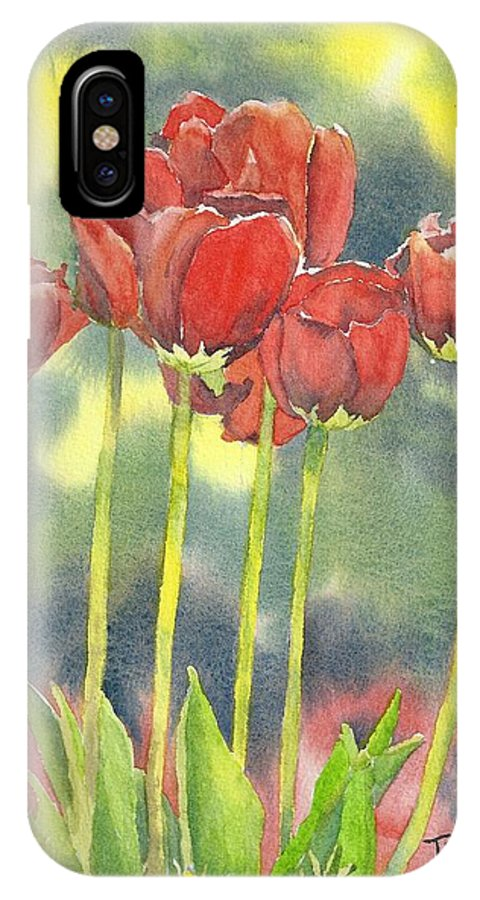 Red Flowers IPhone X Case featuring the painting Red Tulips by Tammy Crawford