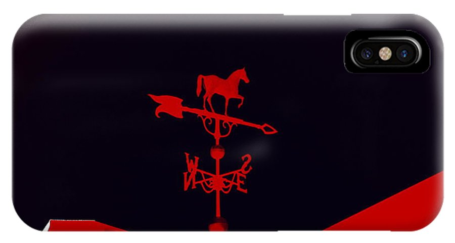 Weather IPhone X Case featuring the digital art Red Weather Vane With Snow On The Roof by Renee Trenholm